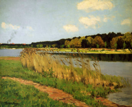 Lake in Mark Brandenburg of artist Walter Leistikow, Oil, See, 77cm, Mark, Lake, Bank, State, Walter