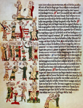 Sachsenspiegel / Heidelberger Manuscript of artist Buchmalerei, Law, Cod, Fol, Book, Dead, Ages, Germ, 1315