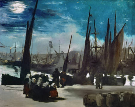 The Port of Boulogne in Moonlight of artist Edouard Manet, Sky, Moon, City, Life, Boat, 1869, Light, Manet