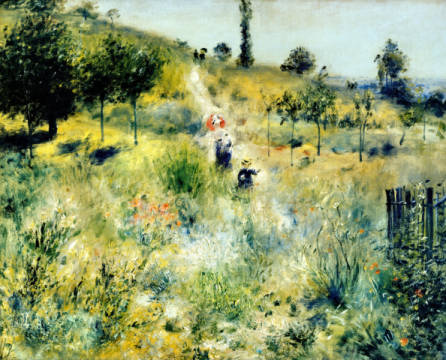 The Path through the Long Grass, c.1875 of artist Pierre Auguste Renoir, Les, Oil, 74cm, Walk, Tree, Free, Field, Erich