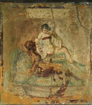 Erotic scene / Roman wall-painting of artist AKG Anonymous, Wall, Nude, Scene, -from, Roman, Erich, World, Italy