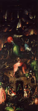 Hell, right inner wing of the Last Judgement triptych of artist Hieronymus Bosch, Oak, End, New, Oil, Wing, 60cm, Night, Blaze