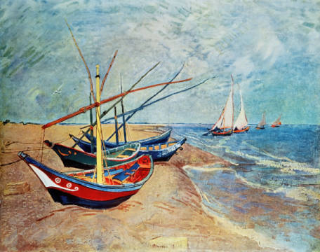 Fishing boats on the beach of Saintes-Maries of artist Vincent van Gogh as framed image