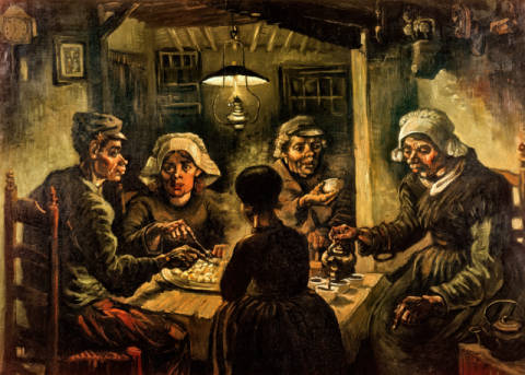 The Potato Eaters of artist Vincent van Gogh as framed image
