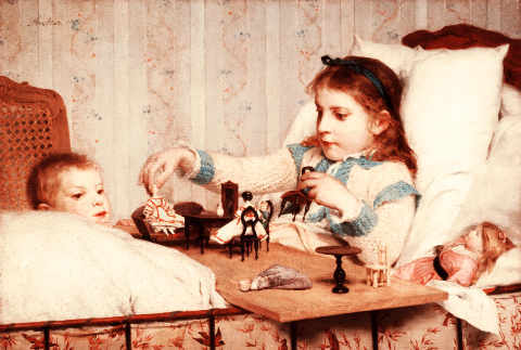 Die kleine Genesende of artist Albert Anker, Bow, Bed, Toys, Band, Turn, Child, Swiss, Games