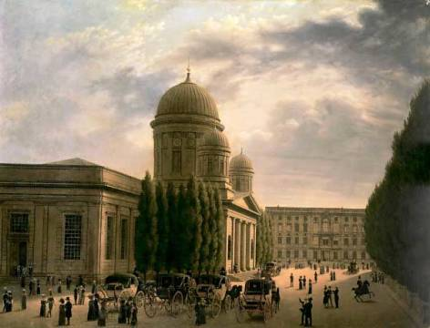 Die Domkirche in Berlin of artist Carl Georg Adolph Hasenpflug, Oil, 2cm, Dom, Old, 1825, Plans, Built, Church