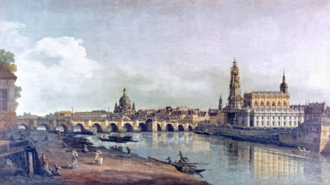 Dresden seen from the right bank of the Elbe of artist Bernardo Bellotto as framed image