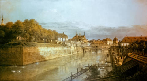 The Zwinger Moat in Dresden of artist Bernardo Bellotto, Inv, View, City, 1749, Outer, Veduta, Saxony, Canvas