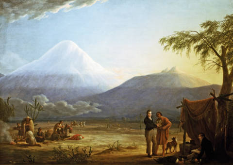 Alexander von Humboldt and Aime Bonpland in the valley of Tapia on the foot of the vulcano Chimborazo of artist Friedrich Georg Weitsch as framed image