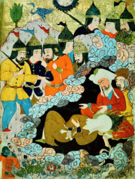 Muhammad and Abu Bakr in a cave of artist Buchmalerei as framed image