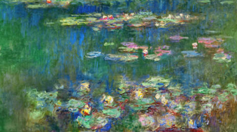 Water Lilies of artist Claude Monet, Oil, Pond, 20th, Yard, Monet, Plant, Water, Green