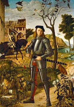Young knight in a landscape of artist Vittore Carpaccio, Man, 219, Oil, Jamb, 1455, Fort, Horse, Sword