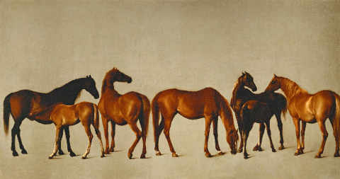 Mares with Foals of artist George Townley Stubbs, Oil, 18th, Colt, Mare, Tail, Study, Mares, Horse