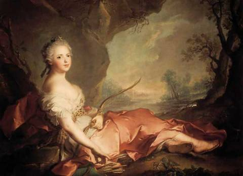Portrait of Marie Adelaide of France as Diana of artist Jean-Marc Nattier, 1745, Marc, Jean, Marie, Arrow, Diana, Rococo, France