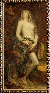 Eve's Seduction of artist George Frederick Watts, Oil, Akg, Eve, Adam, Girl, Eves, Tree, 29cm