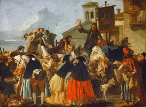 The Quack doctor of artist Giovanni Domenico Tiepolo, Oil, Gras, Male, 1745, Quack, Crowd, 110cm, Rococo