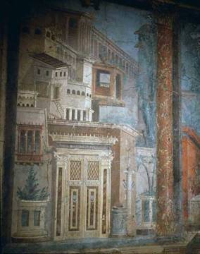 Roman wallpainting from Boscoreale of artist Pompeji, Wall, Roman, World, Italy, North, -from, Mural, Villa