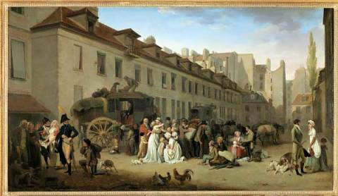 L'arrivee d'une diligence dans la cour des Messageries of artist Louis-Léopold Boilly, 1803, Wood, City, Post, Bird, Dune, Dans, Louis
