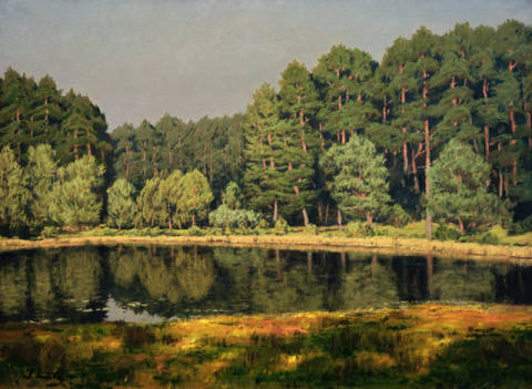 Forest Landscape with lake in the Brandenburg March of artist Walter Leistikow as framed image
