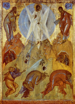 Transfiguration of Christ of artist AKG Anonymous, Icon, Halo, -end, Wood, 14th, Jesus, 133cm, Tabor
