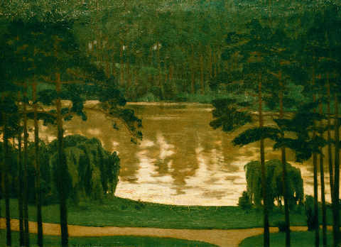 Lake in the Brandenburg March of artist Walter Leistikow, Oil, Mark, 1898, Lake, Woods, State, March, 100cm