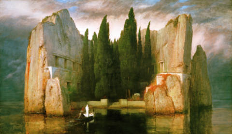 Island of the Dead of artist Arnold Böcklin, Sea, Punt, Tomb, Wood, View, 1883, Cklin, Blues