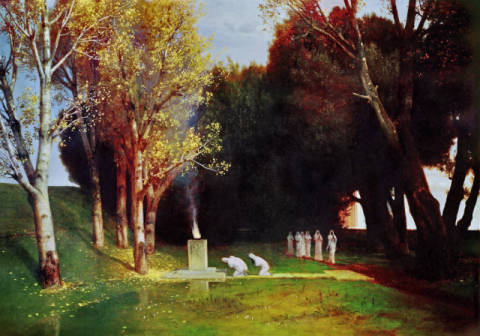 The Sacred Grove of artist Arnold Böcklin, 105, 5cm, Cult, 1882, Holy, Hain, World, Grove