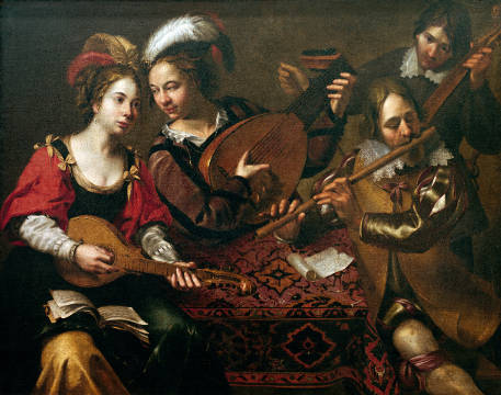 Social gathering to make music of artist Wouter Pietersz Crabeth, 134, Beg, Oil, Pair, Make, Wind, 17th, Lute