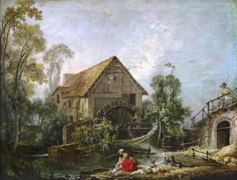 Le moulin of artist François Boucher, 5cm, Oil, Life, 18th, Game, Mill, Water, French