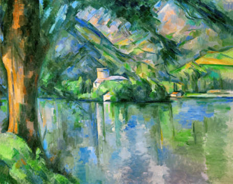 Lac d'Annecy of artist Paul Cézanne, Oil, Lac, Pond, 19th, 79cm, Paul, Lake, 1896