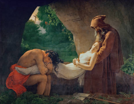 Atala's Funeral of artist Anne-Louis Girodet de Roucy-Trioson, Aft, Les, Dit, Love, 1801, Pair, Male, Grief