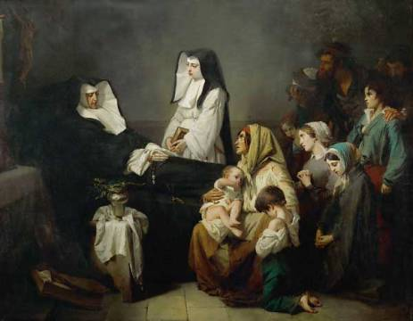 Death of a Sister of Mercy of artist Isidore Pils, 243, Oil, Pils, 1850, Dune, State, Prayer, August