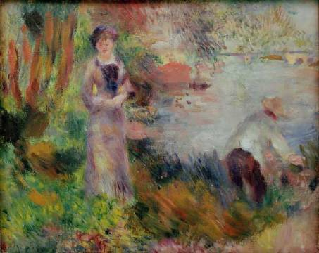 Bank of the Seine at Argenteuil of artist Pierre Auguste Renoir, Oil, 5cm, Bord, Bank, Time, 1878, Free, River