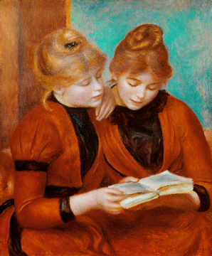 The two sisters of artist Pierre Auguste Renoir, Two, Bun, Life, Shot, Book, Deux, 1889, Trust