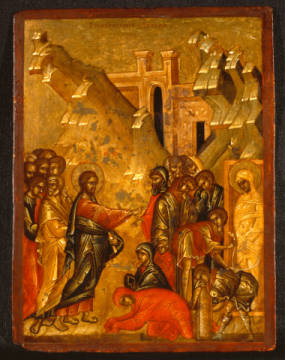 The Raising of Lazarus from the Dead of artist 15. Jahrhundert, New, Dead, Wood, Icon, Holy, 15th, Lavra, Bible