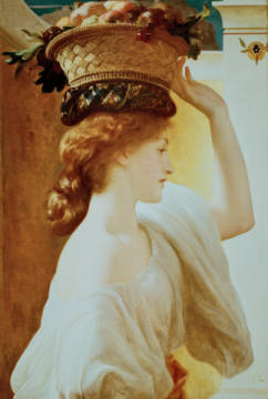 Leighton /Girl w.Basket of Fruit/ c.1862 of artist Lord Frederick Leighton, 8cm, Oil, Head, Bust, Girl, Cargo, Young, Fruit