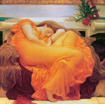 Flaming June of artist Lord Frederick Leighton as framed image