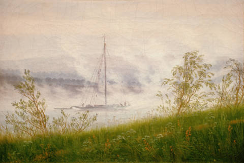 Ship on the Elbe in the early morning fog of artist Caspar David Friedrich, Oil, Fog, 8cm, Elbe, Mist, 19th, 1821, Ship