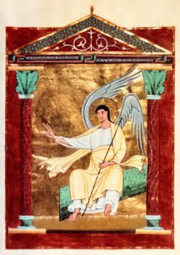 Angel by the tomb / Illumination / C11th of artist Buchmalerei deutsch as framed image