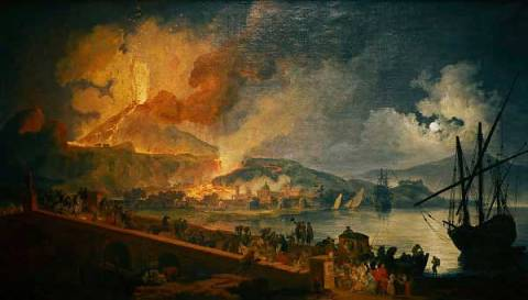 Eruption of Vesuvius as seen from the Ponte della Maddalena of artist Pierre-Jacques Antoine Volaire as framed image