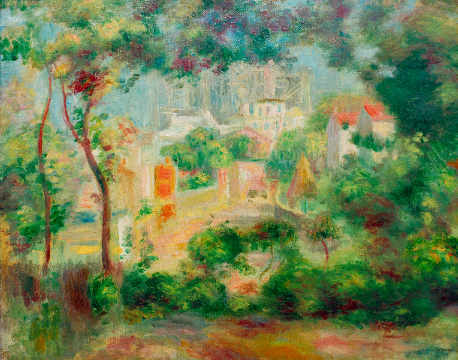 The gardens of Montmartre with view of Sacre-Coeur under construction of artist Pierre Auguste Renoir as framed image