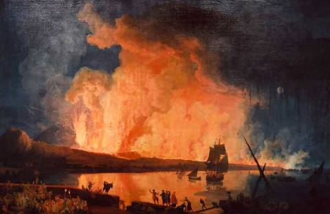 Eruption of Vesuvius, as seen from the Ponte della Maddalena. of artist Pierre-Jacques Antoine Volaire, Moon, Lava, 240cm, Night, Italy, Ponte, Canvas, Naples