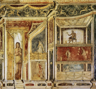 Roman Mural Paint./ Boscoreale / C1st BC of artist Pompeji, 1st, 2nd, Wall, View, Erich, -from, Roman, Loeil