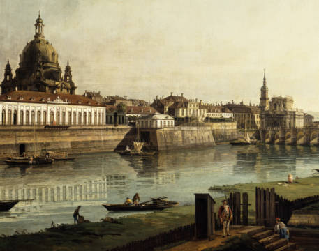 Dresden seen from the right bank of the river Elbe of artist Bernardo Bellotto as framed image