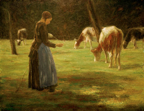 Cow maid of artist Max Liebermann as framed image