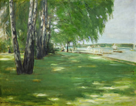 The artist's garden in Wannsee of artist Max Liebermann, Inv, Lake, 20th, Boat, Auch, Park, 1909, 1918