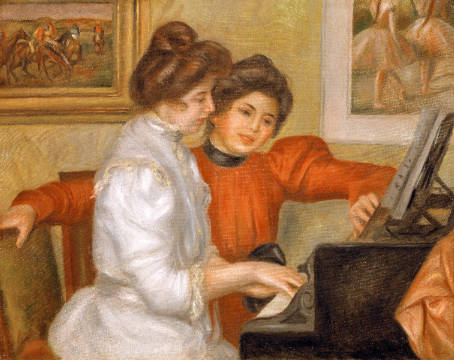 Yvonne and Christine Lerolle at the piano of artist Pierre Auguste Renoir as framed image
