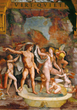 Mars and Venus / Fresco / Giulio / C16th of artist Giulio Romano, God, Love, Nude, Mars, Roman, -mars, Giulio, Psiche