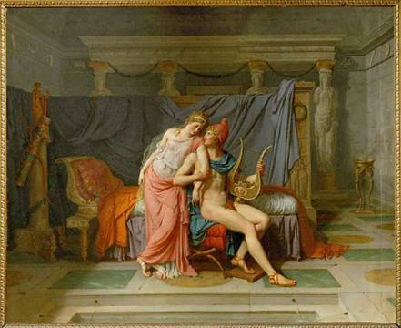 The love of Paris and Helena of artist Jacques-Louis David as framed image