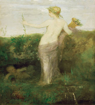 A.Böcklin / Water Nymph / c.1866 of artist Arnold Böcklin, Otto, Nude, 1866, Wood, Nymph, Woman, German, Arnold
